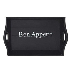 Small Retro Black 'Bon Appetit' Drink Serving Tray
