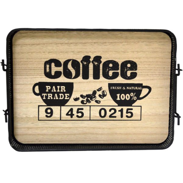 Metal/Wooden Serving Coffee/Tea Tray with Handles